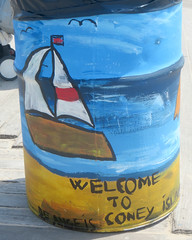 Welcome to Coney Island (edenpictures) Tags: coneyisland brooklyn newyorkcity nyc trashcan painted art sailboat boardwalk