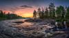 Koiteli rapids (M.T.L Photography) Tags: koiteli kiiminki finland koitelirapids mtlphotography water river rocks sky sunset sun forest trees summer grass clouds riverkiiminkijoki mikkoleinonencom fog mist stream