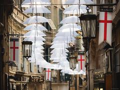 Via Luccoli - Genova, Italy (Sebastian Bayer) Tags: installation schirm kunst farbe vialuccoli fluchtpunkt bunt schirme gasse italien genua regenschirm dekoration strase