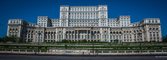 2018 - Romania - Bucharest - The People's Palace + 1 Bicycle Rider (Ted's photos - Returns 23 Jun) Tags: 2018 bucharest nikon nikond750 nikonfx romania tedmcgrath tedsphotos vignetting thepeoplespalace nicolaeceauşescu bicycle building wideangle widescreen bollards