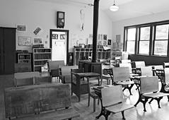 One Room School House (Cindy's Here) Tags: oneroomschoolhouse classroom oldschool oldskool conmeeschool bw thunderbay ontario canada canon keepingtime takeaim