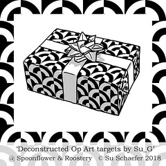 'Deconstructed Op Art Targets by Su_G': Gift wrap mockup (Su_G) Tags: sug 2018 blackandwhite deconstructedoparttargetsbysug giftwrap mockup giftwrapmockup gift present opart popart sixties 1960s spoonflower roostery slippedtargets target targets deconstructedtargets uk synergy0006 synergychallengecollectionsynergy0006uk synergychallenge