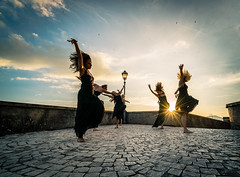 Dancing in sunlight (Mrderelict) Tags: casperia italy dancing girls sunset dance hair wind sabina