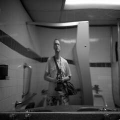 untitled (kaumpphoto) Tags: rolleiflex tlr ilford bw black white mirror selfportrait bathroom faucet sink tile warp scratch 120 urinal stall reflection dispenser soap