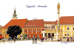 CATHEDRAL SQUARE of ZAGREB in CROATIA (Guy Lafortune) Tags: bâtiment architecture personnes people colonne column statue vierge marie holy cheminée chimney house window fenêtre maison ciel sky clock orloge clocher tower église church fountain fontaine arbre tree truck moto motocycle cars sign enseigne place cathédrale cathedral square croatie zagreb croatia month october mois octobre europe europa autumn automne oiseaux birds tavern taverne konoba route road brasserie