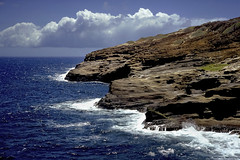 Oahu South (Modkuse) Tags: pacific pacificocean hawaii oahu oahuhawaii waves clouds ocean oceanwaves nikon nikonf2photomic kodak kodachrome kodakslide kodachromeii slidefilm slide slr nikkor35mmf28 35mmf28