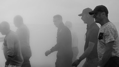 Exhaust fumes and enthusiasts. (Neil. Moralee) Tags: neilmoralee men fumes exhaust devon light aircraft association enthusiasts flying circus black white life bw blackandwhite neil moralee olympus panasonic cough fog visibility