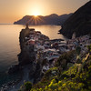 Vernazza Sunset (One_Penny) Tags: italy cinqueterre photography tuscany liguria square squarecrop squareformat sun sunlight sunset sundown sky warm colors cactus plants village city town tower mountains nature sea water mediterranean mediterraneansea cityscape view sunrays travel tourism rocks