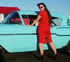 Holly_9238 (Fast an' Bulbous) Tags: chevy american car classic girl woman hot sexy pinup model red wiggle dress high heels stockings long brunette hair wife people outdoor santapod
