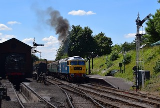 Class 47 Loco 47579 'James Nighthall GC' departing Ropley with a train from Alresford to Alton. Mid Hants Railway Diesel Weekend 03 06 2018