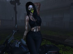 Toxic (Hanzworld) Tags: toxic lumipro lighting sl ironwood selfie bike tattoos black tan curves girl woman life eyes green piercings