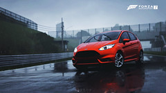 Forza Motorsport 7 - Genesis (at1503) Tags: rain track circuit ford fiesta st fordfiestast fiestast suzuka japan hothatch wheels puddles grey cloudy rainy cooltones forza xbox xboxone forzamotorsport7 motorsport racing game gaming car orange reflections genesis blue suzukacircuit