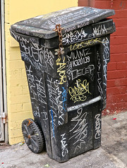 Graffiti Garbage Can, San Francisco, CA (Robby Virus) Tags: sanfrancisco california sf ca chinatown asian chinese garbage can graffiti tags