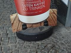 Found Coffee Quote Face (mkorsakov) Tags: dortmund city innenstadt werbung commercial störer kundenstopper quote zitat foundface bäckerei bakery