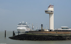 Port (peterphotographic) Tags: olympus em5mk2 microfourthirds ©peterhall normandy normandie france p5240555edwm port honfleur liner cruiseship ship boat vessel mooring harbour river controltower