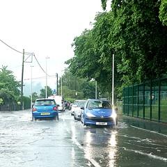 365 of Year 4 - The rains were heavy. (Hi, I'm Tim Large) Tags: rain storm heavy thunder downpour flood road highway car cars slow peugeot 206 307 blue deep fuji fujifilm xf x70 portishead northsomerset