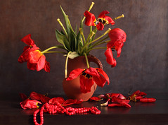 Suddenly This Defeat (panga_ua) Tags: suddenlythisdefeat red tulips necklace faded wilted withered springtime april ukraine ceramics jug color light reflections