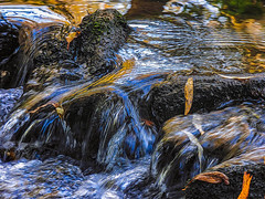 The River of Dali (Steve Taylor (Photography)) Tags: dali digitalart black blue brown yellow white rock stream river water newzealand nz southisland canterbury christchurch leaves ripple
