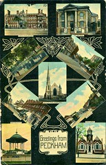 Greetings from Peckham postcard (circa 1906) (The Wright Archive) Tags: peckham london vintage postcard chaucer publishing multiview 1907 edwardian local history southlondon rye lane chapel peckhamrye queens road londonviews old past times bandstand park souvenir