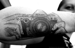 this is a real classic tattoo (Drehscheibe) Tags: nikonf2 poeple tattoo fp4plus analog blackwhite film 35mm