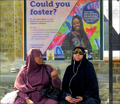 `2299 (roll the dice) Tags: london muslim children kids parents couple surreal sign council sad mad crazy people fashion girls bored happy wait busstop shops shopping foster sunglasses musisc headphones pretty veiled burka niqab streetphotography wall market chalkfarm hot sunny weather uk art classic england urban unaware unknown canon tourism tourists dull dirty black glass window reflections fever social camden face nw3