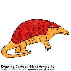 Cartoon Giant Armadillo (drawingtutorials101.com) Tags: cartoon giant armadillo animals animal draw drawing drawings color colors coloring how sketch pencil speed