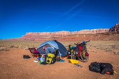 Setting up camp with the amazing tall escarpments and deep canyons surrounding us.