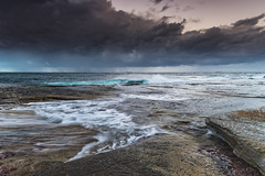 Stormy Morning Seascape (Merrillie) Tags: daybreak theskillion waterscape clouds nature water terrigal nsw rocky sea weather newsouthwales rocks earlymorning morning landscape centralcoast ocean australia sunrise stormy coastal outdoors sky seascape dawn coast cloudy waves