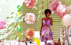 A Little Bit of Spring (♥~ Mahogany ~♥) Tags: secondlife spring gardenparty felinefinefashions halfdeer cleodesigns paperflowers balloons cake truthhair slfashion blog