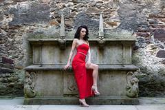 Castle patio (piotr_szymanek) Tags: ika ikak portrait outdoor patio red dress legs feet highheels woman milf young skinny longhair brunette eyesoncamera face castle czocha 1k 20f 50f 5k 10k 100f