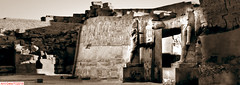 The gate of the Karmak temple (DelioTO) Tags: 6x17 1995 antiquities architecture blackwhite cemetery desert egypt f267 historical holiday panoramic pinhole toned trip
