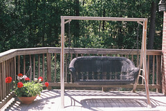 back porch (Matthew Ellett) Tags: flower flowers swing backporch outdoors woods bench relaxing