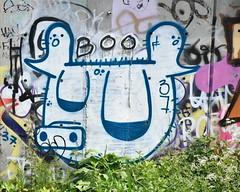 white 'boo' pig (Harry Halibut) Tags: allrightsreserved 2018©andrewpettigrew imagesofsheffield images sheffieldarchitecture sheffieldbuildings colourbysoftwarelaziness sheffield south yorkshire publicartinsheffield public art streetart graffiti murals sheff1805268673 37 pig concrete wall greenery plants riverside boo city 37pig river sheaf little park sidney shoreham matilda street