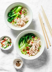 Asian style chicken soup... (sonja-ksu) Tags: food soup chicken vegetables lunch broth noodles foodphotography