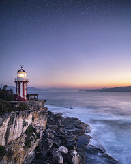 Hornby Twilight (Jay Daley) Tags: hornby lighthouse sky night sydney nsw stars lookout view cliff clear morning sunrise beam beacon sony alpha a7r2