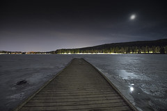 Frozen Lake at Midnight (Daveoffshore) Tags: oslo lake ice frozen night moon stars daveoffshore norway