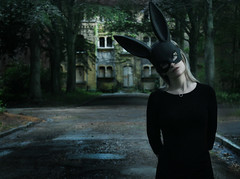 Welcome to Wonderland (Claudia Hantschel) Tags: woman girl wonderland dark mask bunny rabbit black claudia hantschel photography claudiahantschelphotography portrait scary follow dress fairytale