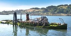 Sunken Old Fishing Boat, (marvhimmel) Tags: oregoncoast moss goldbeachbay fire general sunkenfishingboat