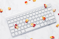 Top view of white keyboard with rose petals on marbled background (wuestenigel) Tags: natural place romantic home table space background hand female desktop seasonal girl woman design lilac petal business white view spring keyboard flower workspace office bouquet computer blossom freelance floral women beautiful pink job top trendy color desk work lifestyle plant herb