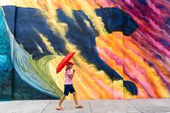 Walk on the Wild Side - Melbourne, FL (ChuckPalmer {cepalm}) Tags: nancy art florida girl melbourne mural panther photowalk red umbrella chuckpalmer