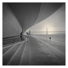 Running Man (Vesa Pihanurmi) Tags: man figure character maat building architecture bridge ponte25deabril rain monochrome lisbon lisboa belem