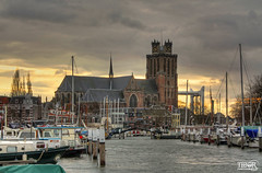 Dordrecht (morbidtibor) Tags: netherlands nederland holland dordrecht canal haven harbour gracht church kerk grotekerk boats