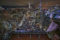 And find I'm king of the hill,  Top of the heap... (karinavera) Tags: city longexposure night photography cityscape urban ilcea7m2 sunset newyork topoftherock manhattan
