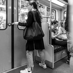 solid stand (every pixel counts) Tags: 2018 berlin u2 ubahn bw metro underground eu capital city girl 11 day everypixelcounts blackandwhite woman subway germany square people public europa publictransport blackwhite bag bolsa sneaker button finger berlinalive