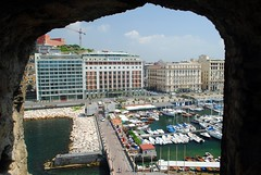 Arch to the shore (zawtowers) Tags: naples napoli campania italy italia may 2018 summer holiday vacation break warm dry sunny thursday 31 castel dellovo castle seafront bay water arch view looking through bridge shore harbour restaurants