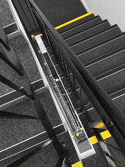 Stairs B&W yellow (LJLJ83) Tags: stairs steps staircase black white bw yellow rails railing look down climb angle abstract floors height depth contrast modern building inside rectangle architecture design art 2018 indoors lines