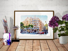 La Pedrera Watercolor Painting (marianv2014) Tags: lapedrera barcelona casamila gaudi building cities thequarry citysymbols travel touristattractions watercolor watercolour watercolorpainting aquarelle trees cars lightblue green lightbrown wallart walldecor fineart watercolorposter lapedreradecor lapedreraposter casamilaposter artgifts affordableart illustration artwork art outdoors beautiful tourism scenery city view europe european contemporary decor landmark charming