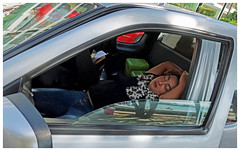"""...like a baby"" - Phuket, Thailand (TravelsWithDan) Tags: candid woman sleeping car phuket thailand streetphotography border canong9x"