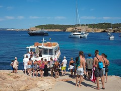 Playa Cala Bassa   Ibiza. Taxi boat departure. (CWhatPhotos) Tags: cwhatphotos photographs photograph pics pictures pic picture image images foto fotos photography artistic that have which contain olympus camera holiday holidays hols hol june 2018 ibizan ibiza