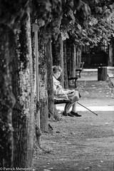 Take a break (pat 19) Tags: woman alone femme 100d canon seule age banc jardin garden city ville bench noir blanc black white bw